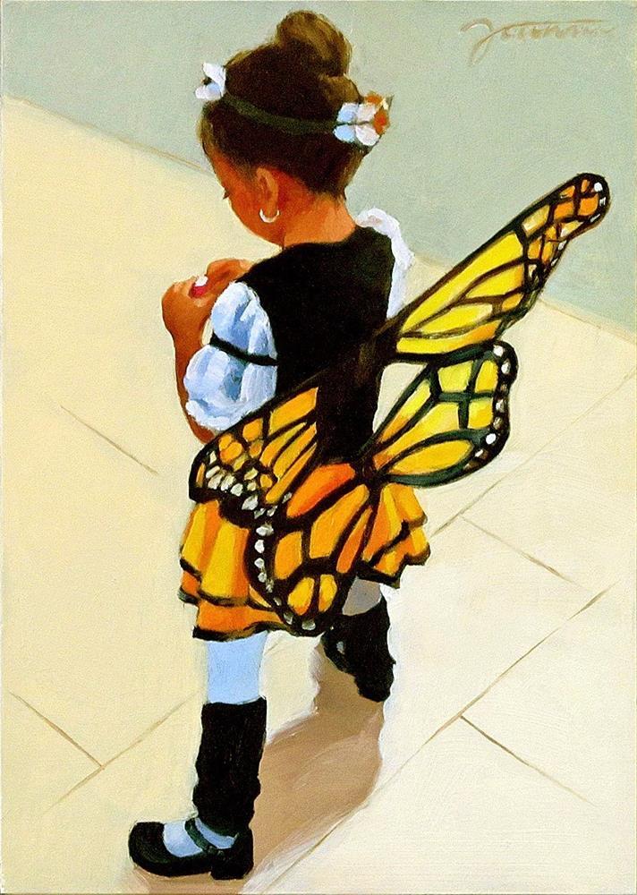 """Recharging Butterfly--Kid in Halloween Costume"" original fine art by Joanna Bingham"