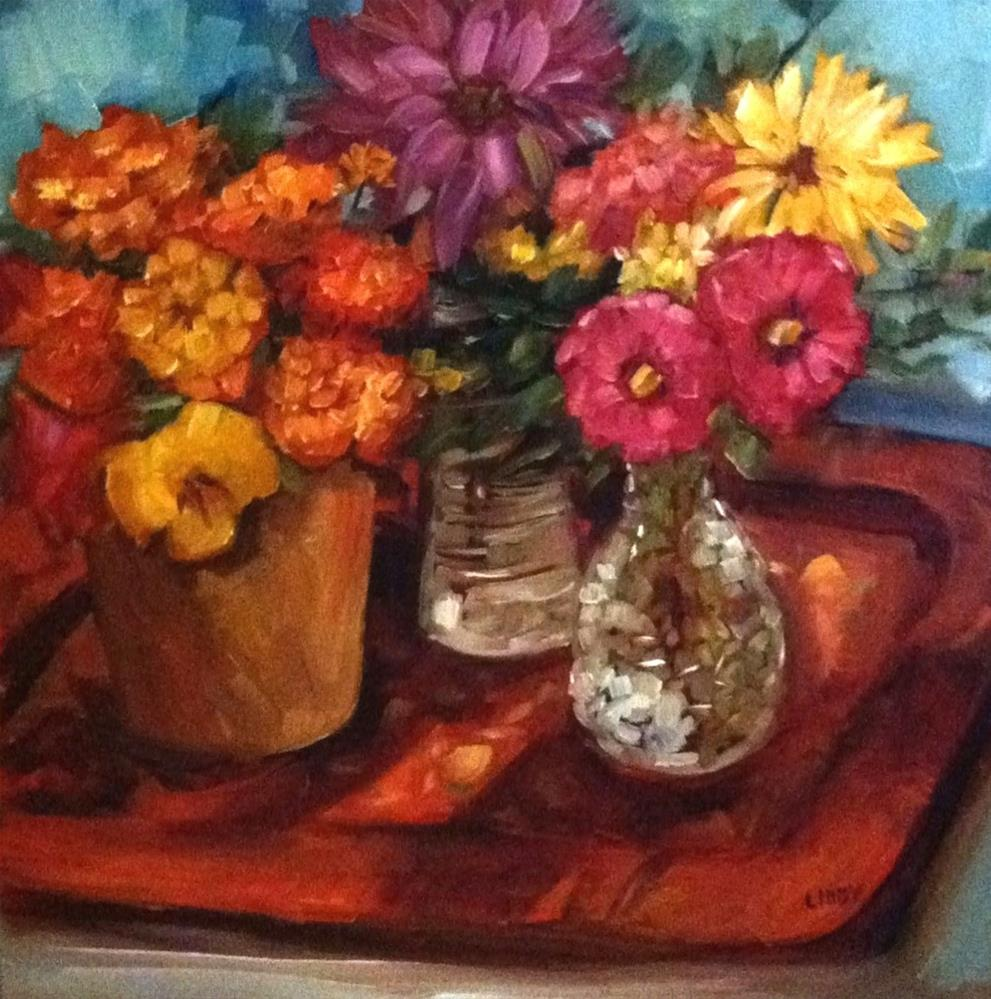 """Tray and Flowers"" original fine art by Libby Anderson"
