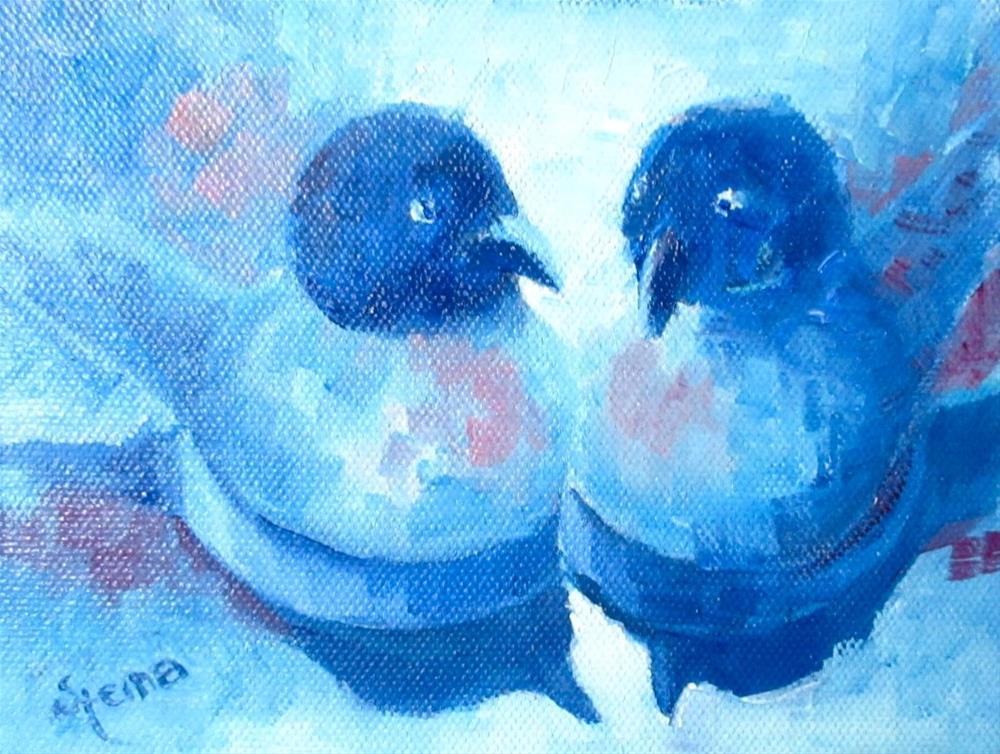 """""""Figures in Blue"""" original fine art by Steinunn Einarsdottir"""