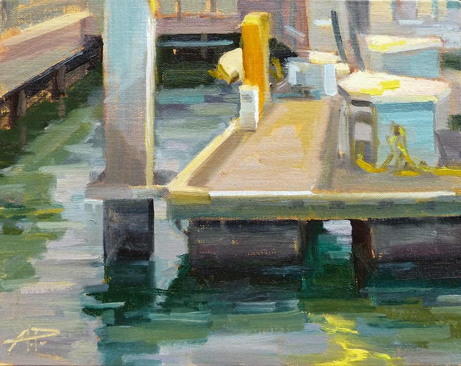 """Day 11 of 30 - Balboa Island Early on the Dock"" original fine art by Anette Power"