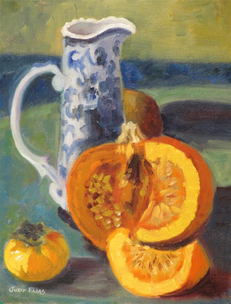 """""""Blue and Orange"""" original fine art by Judy Elias"""