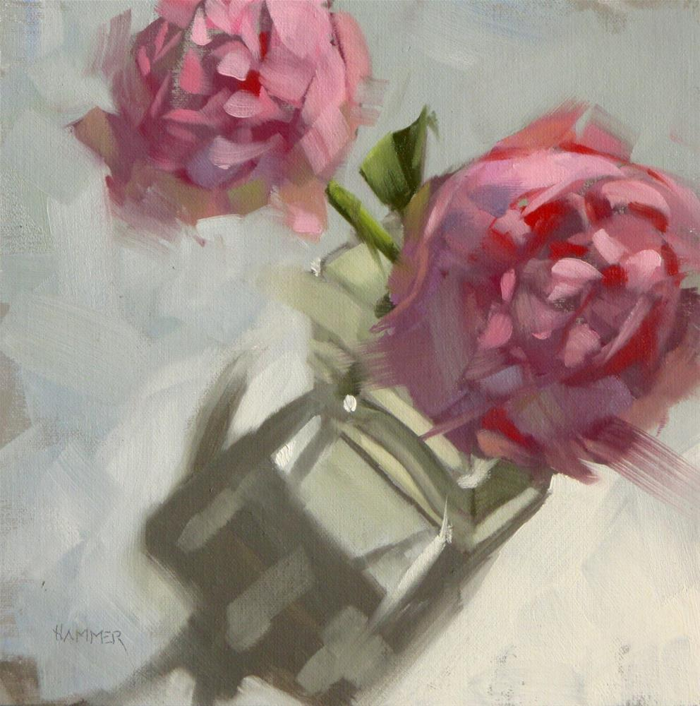 """Two Peonies  8in x 8in  oil"" original fine art by Claudia Hammer"