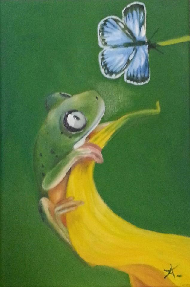 """The frog and the butterfly"" original fine art by Konstantia Karletsa"