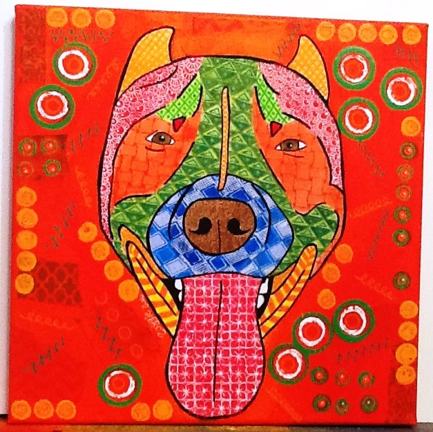 """PIT BULL"" original fine art by Cindy Zoglmann"