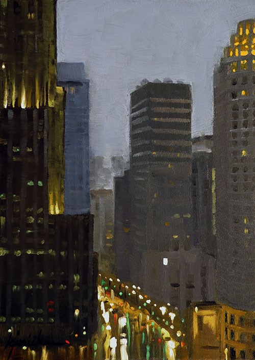 """A Rainy Night in Chicago"" original fine art by Karin Jurick"