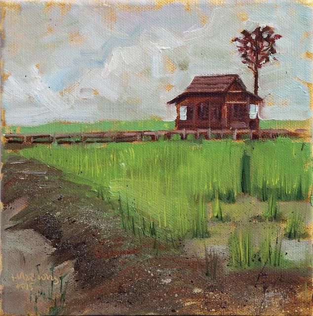 """Paddy Field, Taman Botani"" original fine art by Haze Long"