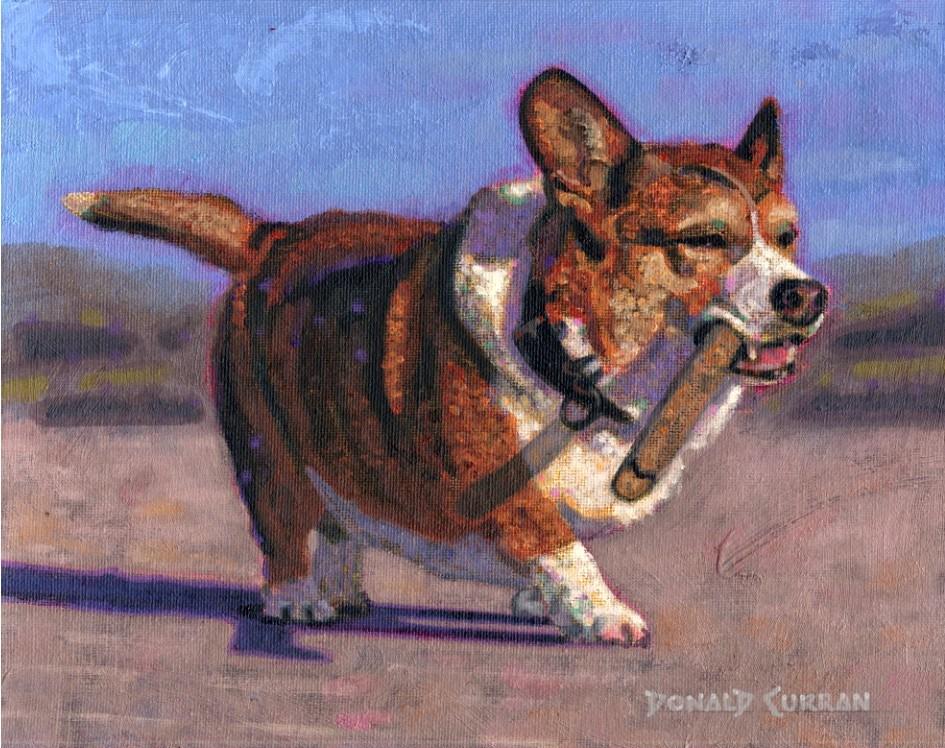 """""""WOOOOF!!"""" original fine art by Donald Curran"""