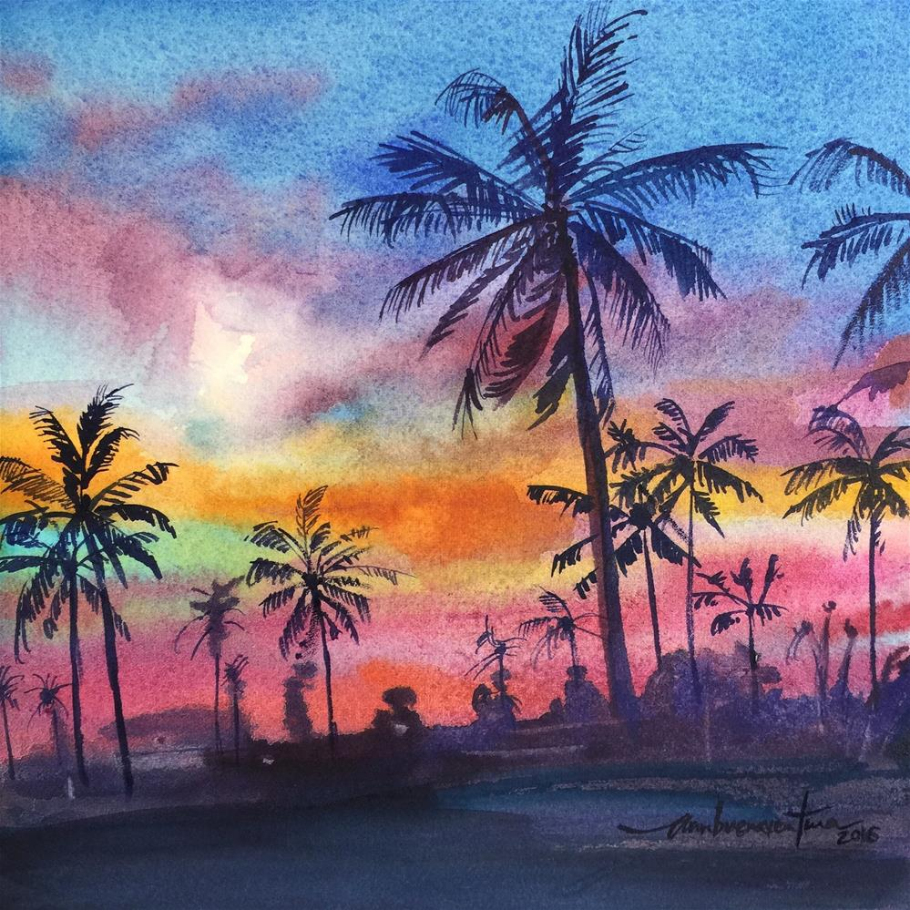 """Palms at Dusk"" original fine art by Ann Buenaventura"