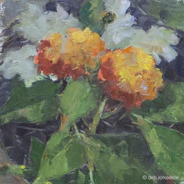 """Lantana Duet - Original Floral Oil Painting  Deb Kirkeeide"" original fine art by Deb Kirkeeide"