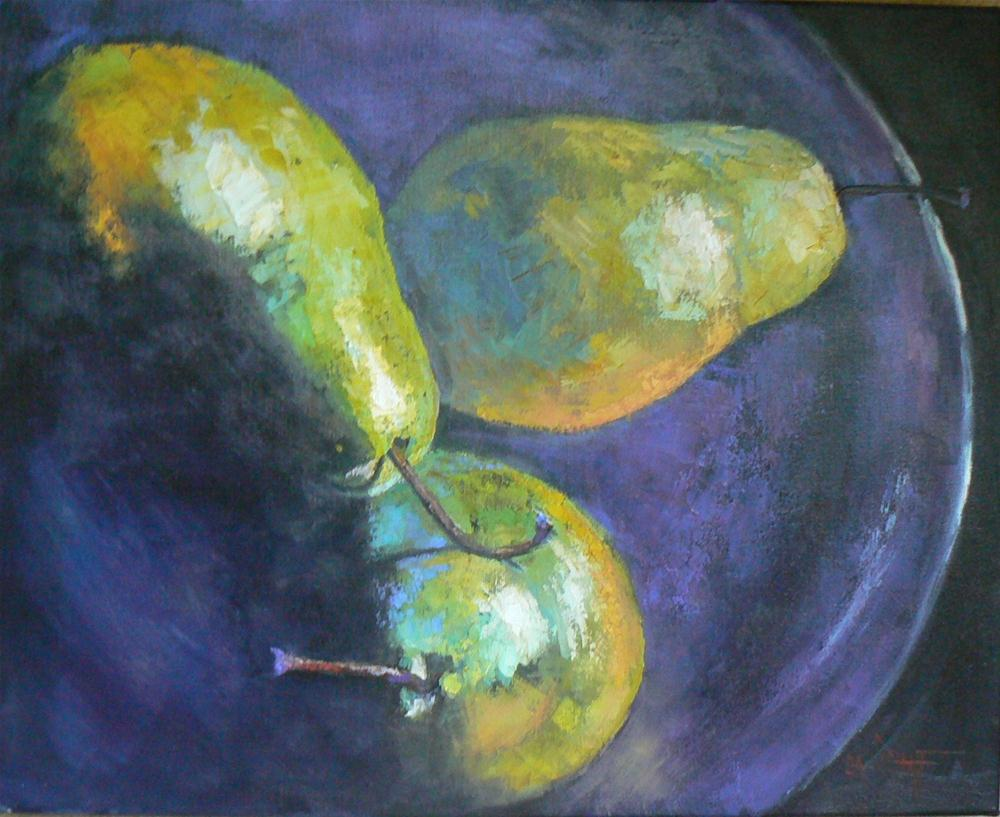 """Pears on a Plate, 16x20, Original Oil"" original fine art by Carol Schiff"