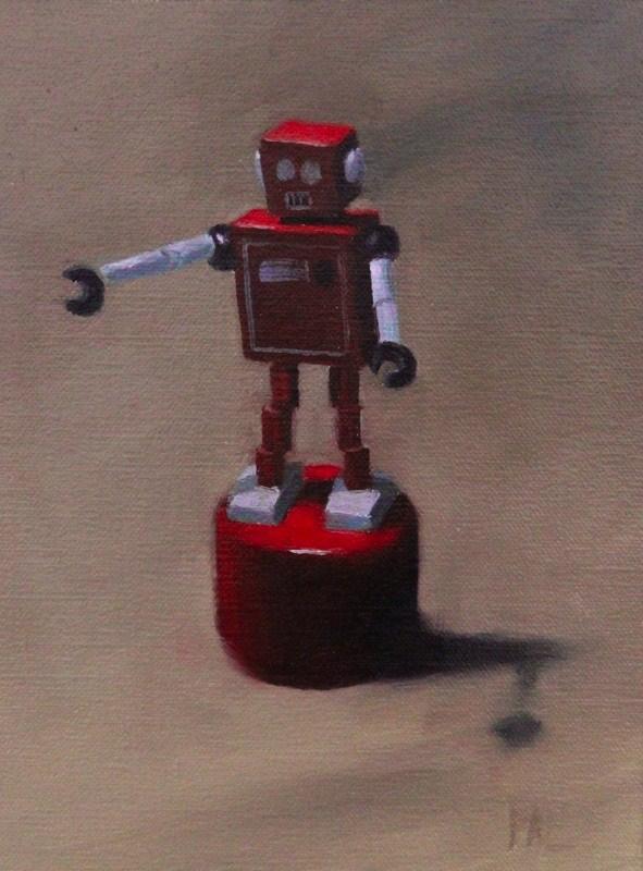 """""""Red little robot"""" original fine art by Thorgrimur Andri Einarsson"""