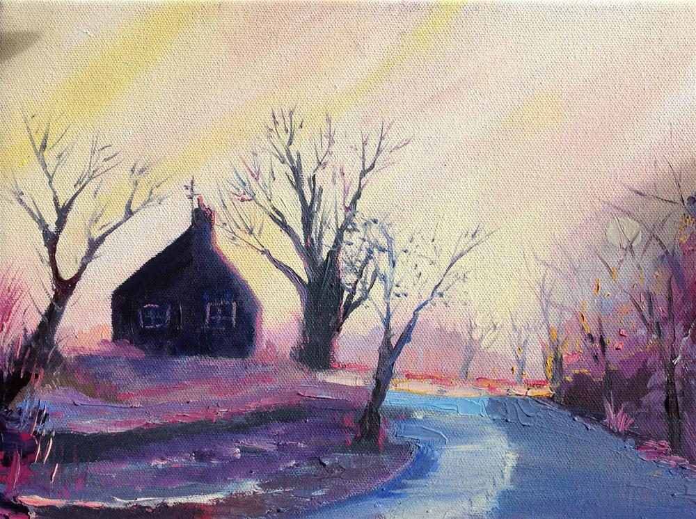 """Snowy Road"" original fine art by Rose Brenner"