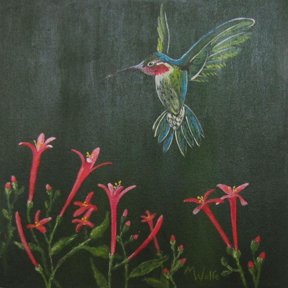 """Hummer with Flame Anisacanthu"" original fine art by Michelle Wolfe"