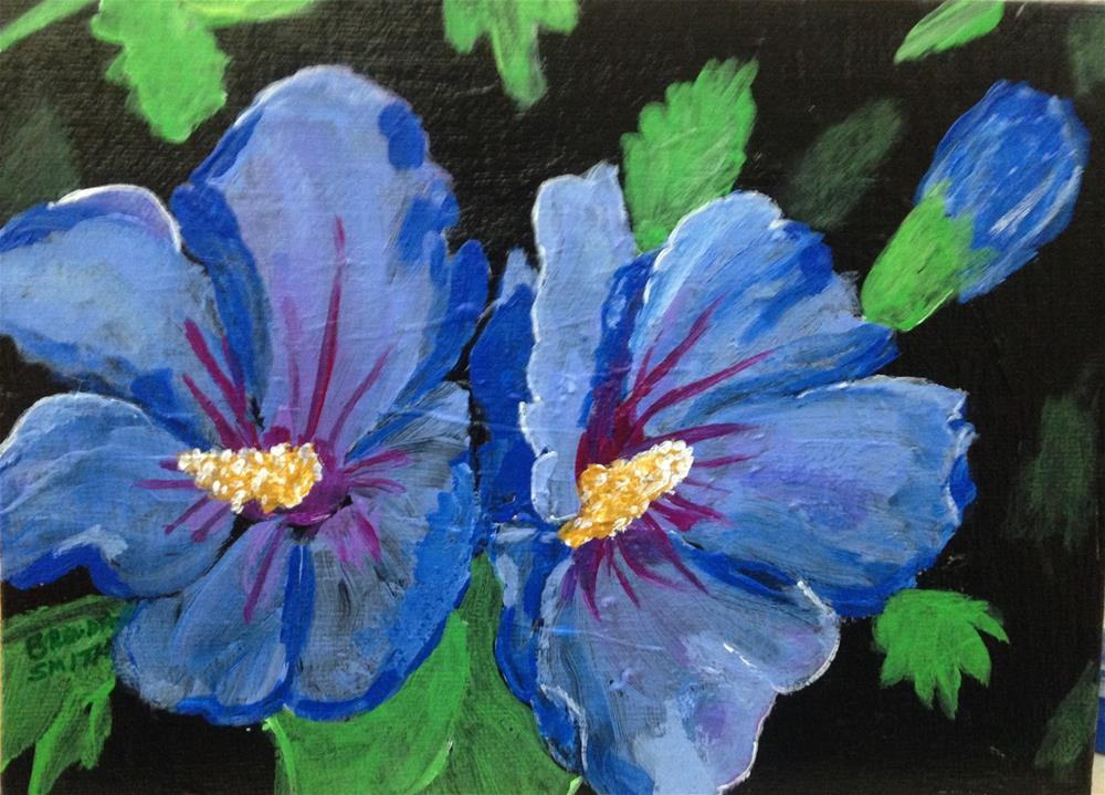 """Blue Hibiscus 2"" original fine art by Brenda Smith"