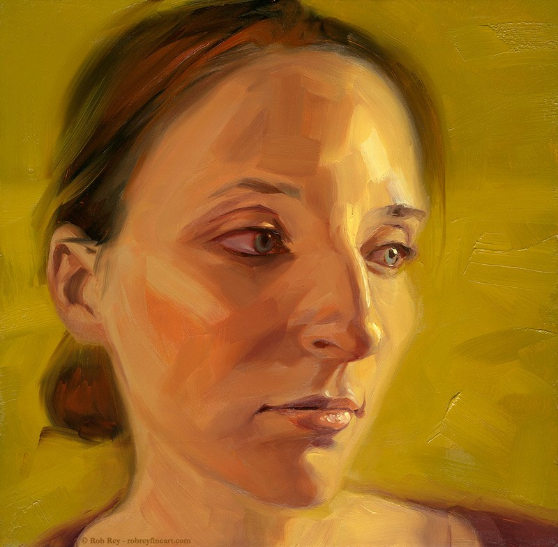 """Girl on Yellow"" original fine art by Rob  Rey"