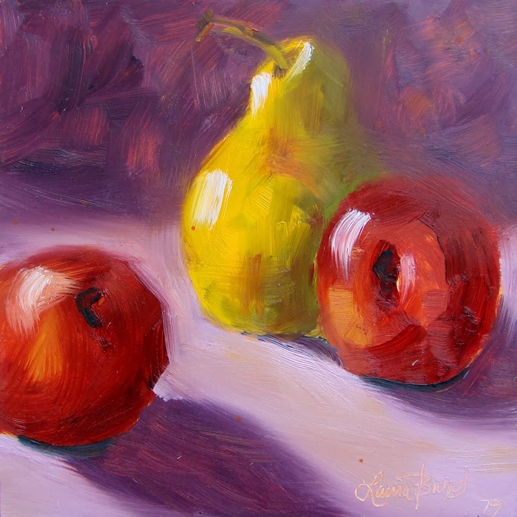 """Two Plums and a Pear 79"" original fine art by Laura  Buxo"