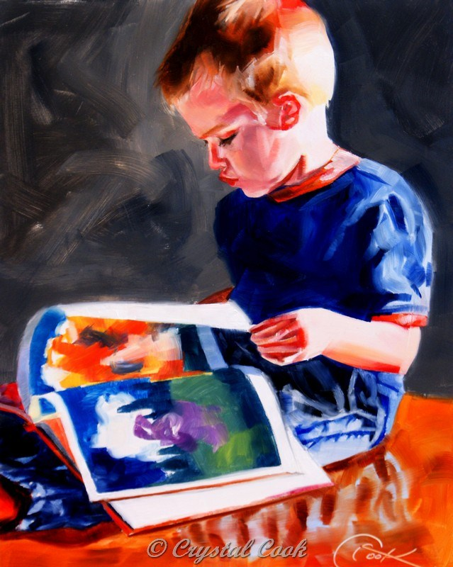 """Read Me A Story"" original fine art by Crystal Cook"