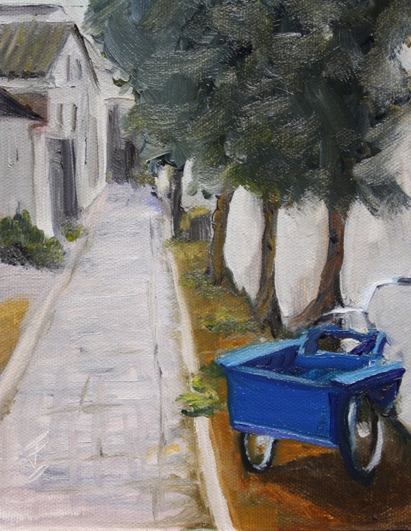 """Tricycle Alley - Zhouzhuang"" original fine art by Jane Frederick"