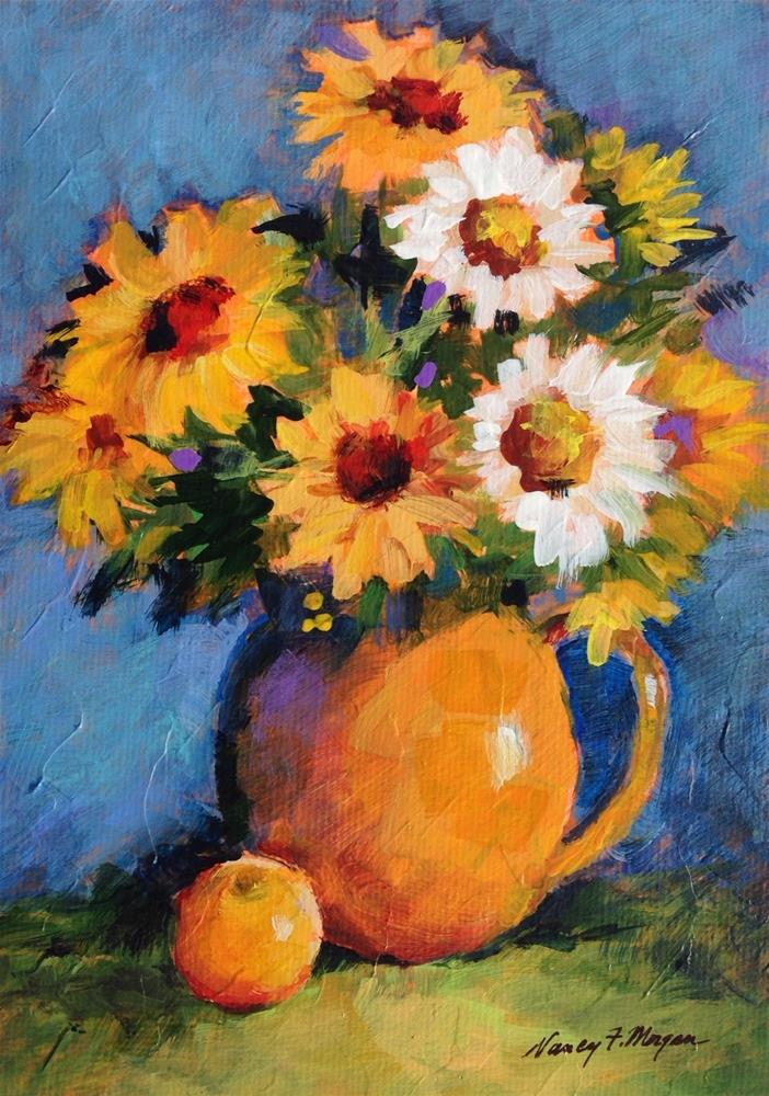"""sunflowers with Apple"" original fine art by Nancy F. Morgan"