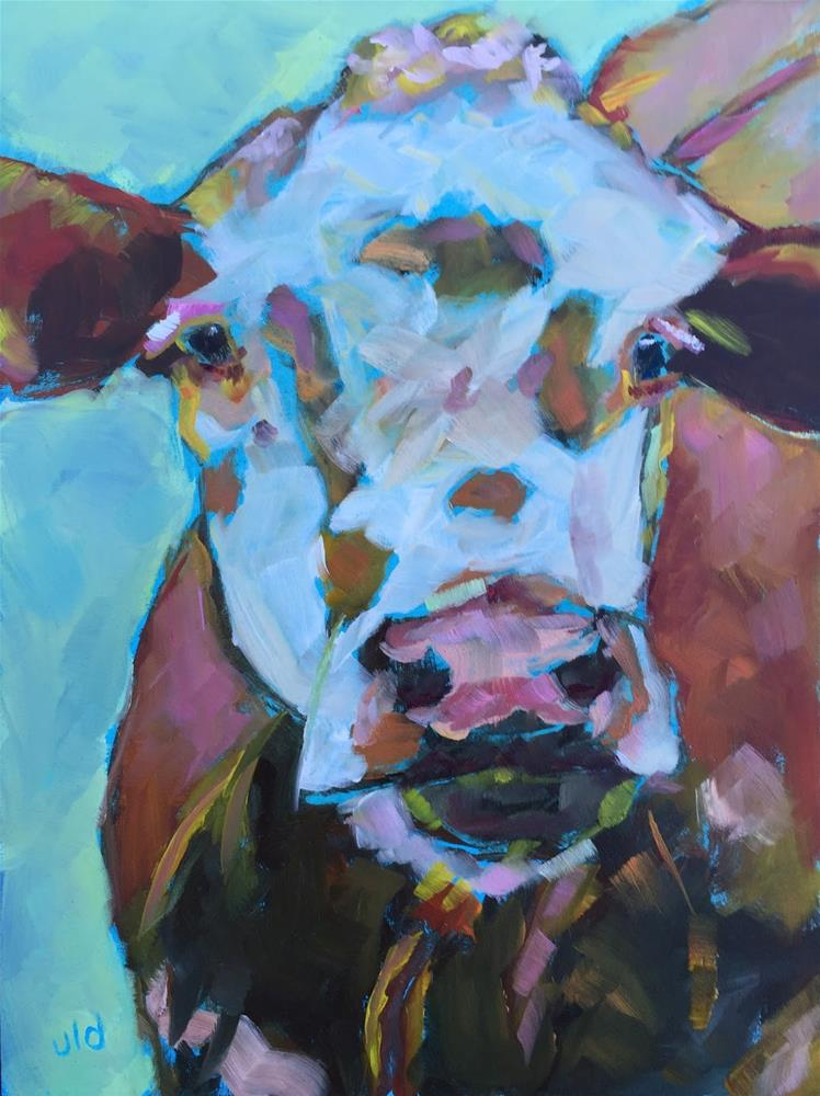"""Cow 54 I'm serious"" original fine art by Jean Delaney"