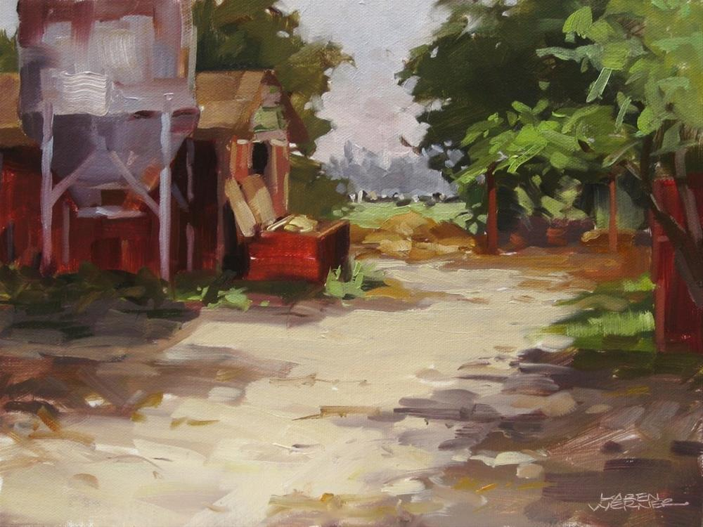 """The Grain Bin, Amy's Farm"" original fine art by Karen Werner"