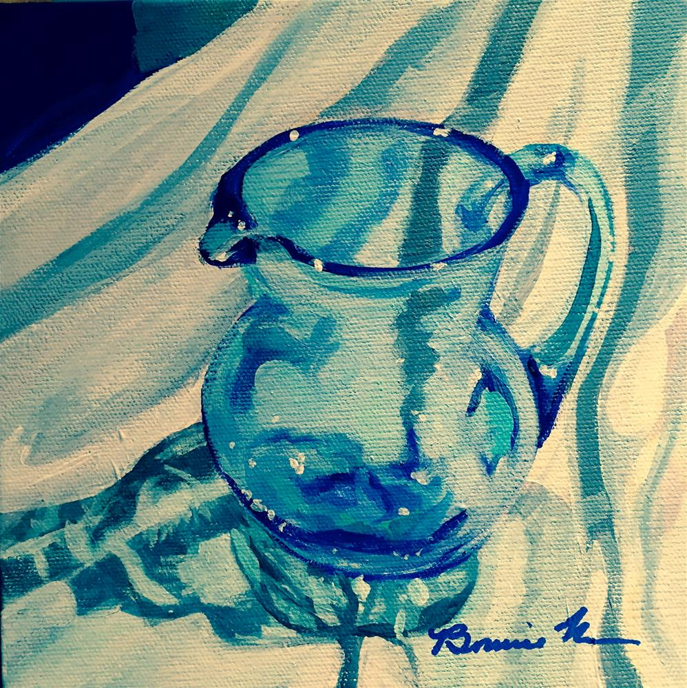 """Mom's Blue Pitcher"" original fine art by Bonnie Masdeu"