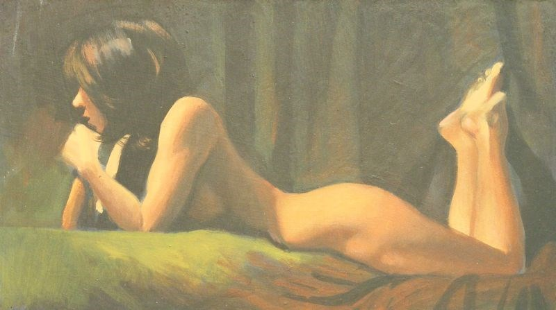 """Nude reclining profile"" original fine art by Peter Orrock"