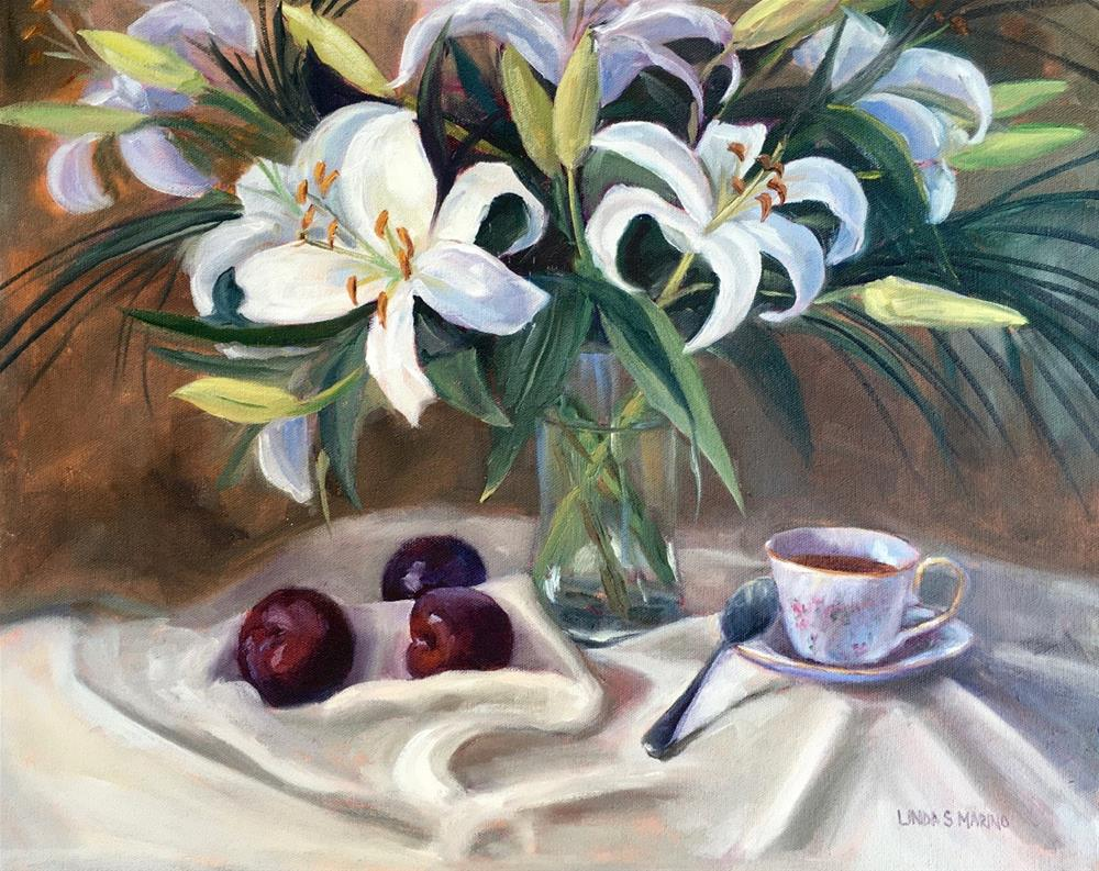"""Lilies and Plums"" original fine art by Linda Marino"