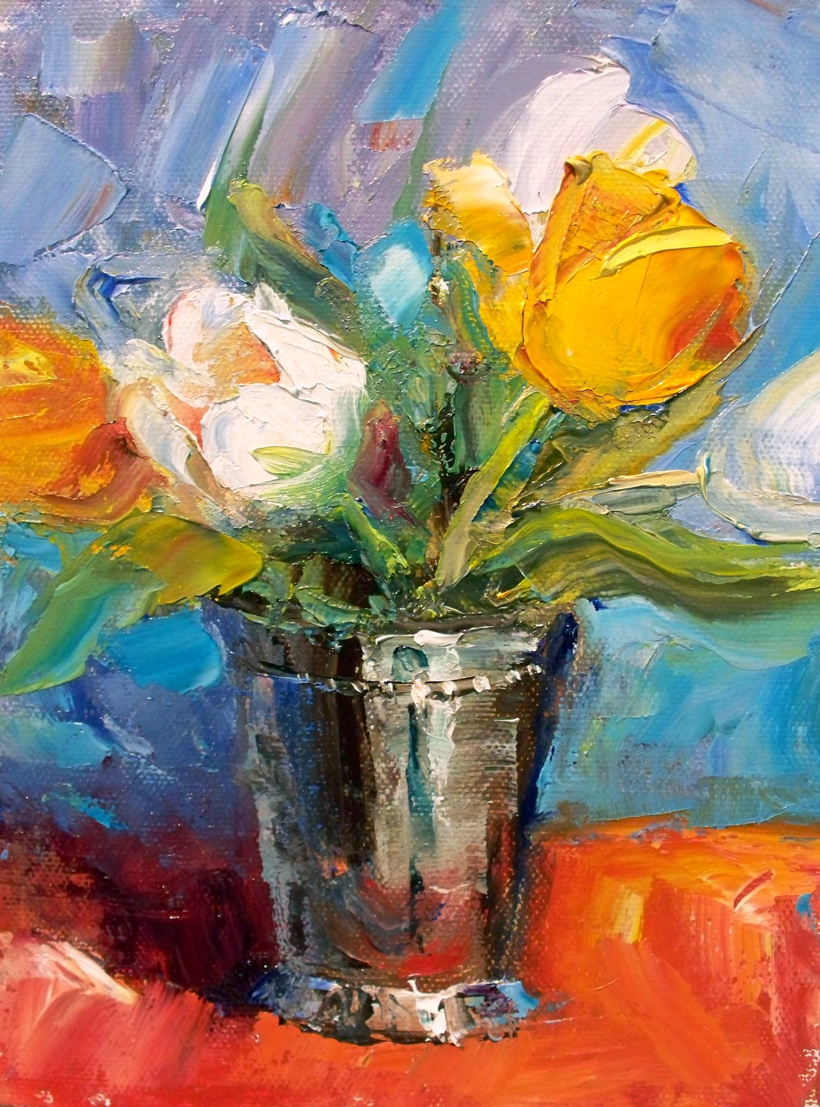 """Tulips in Silver"" original fine art by Julie Ford Oliver"