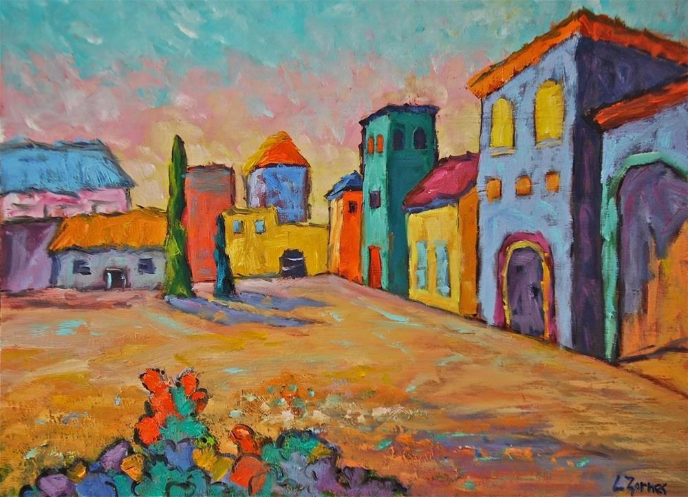 """Village Square Tuscany"" original fine art by Liz Zornes"
