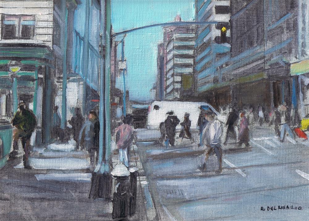 """Walking by Broadway (8 x 10 Oil on canvas sheet) no frame"" original fine art by Ramon DelRosario"