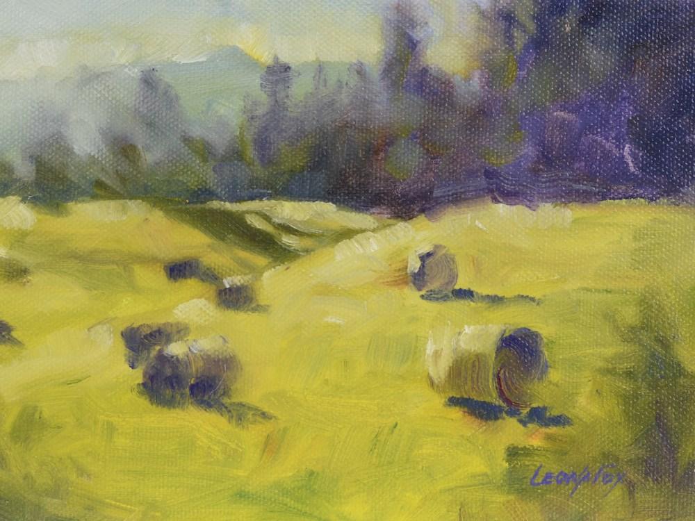 """Summer Hay Bales 1"" original fine art by Leona Fox"