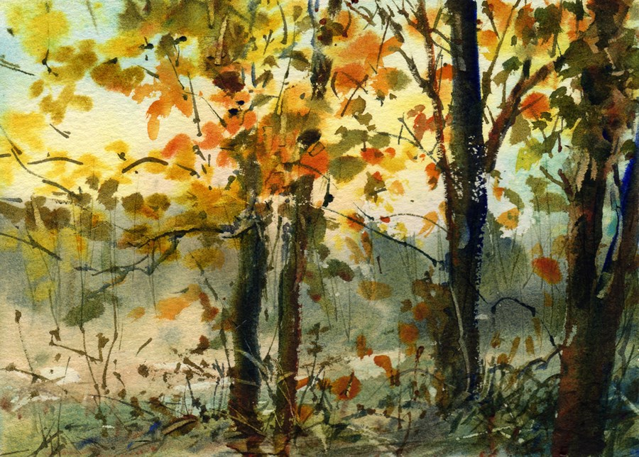 """October"" original fine art by Linda Henry"