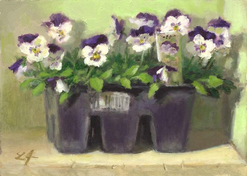 """Violas 6 Pack"" original fine art by Linda Jacobus"