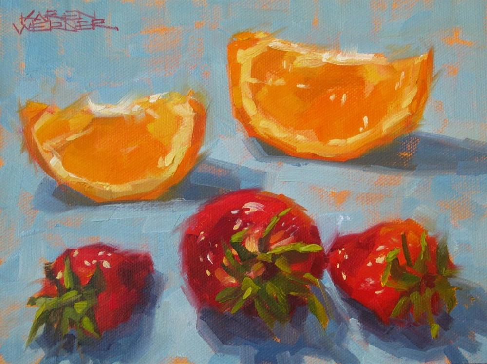 """Oranges Sing Backup"" original fine art by Karen Werner"