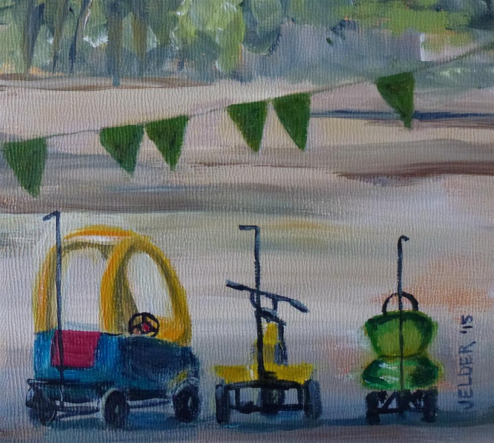 """Kiddie Cars, Paris No. 83"" original fine art by Judith Elder"