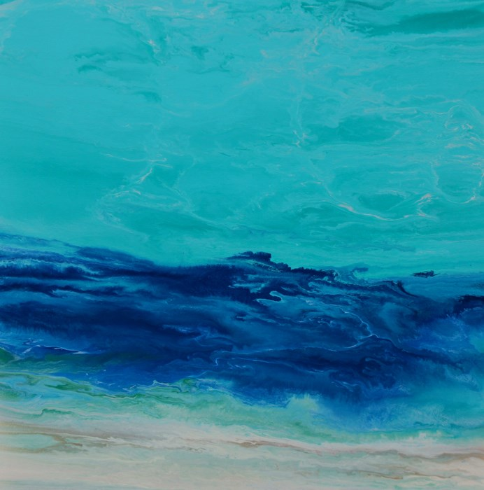 """Abstract Seascape,Coastal Living Decor,Beach Art Royal Wave VIII by Colorado Contemporary Artist K"" original fine art by Kimberly Conrad"