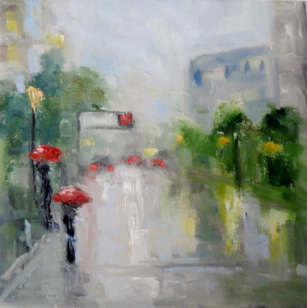 """Raindrops in the City"" original fine art by Astrid Buchhammer"