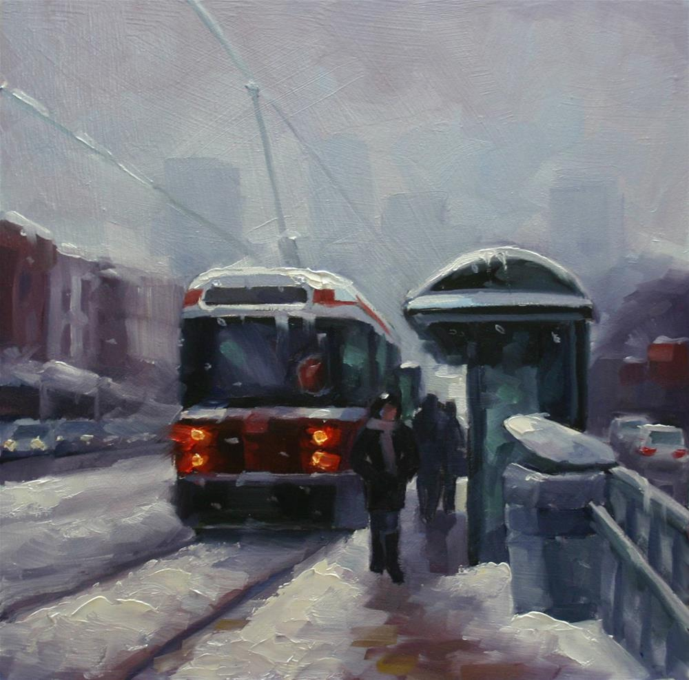 """January Snowstorm, Spadina Ave, Toronto"" original fine art by Catherine Jeffrey"