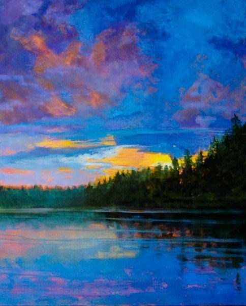 """Original Sunset  Landscape Oil Painting , Blue  Lake Sunset by Colorado Artist Susan Fowler"" original fine art by Susan Fowler"