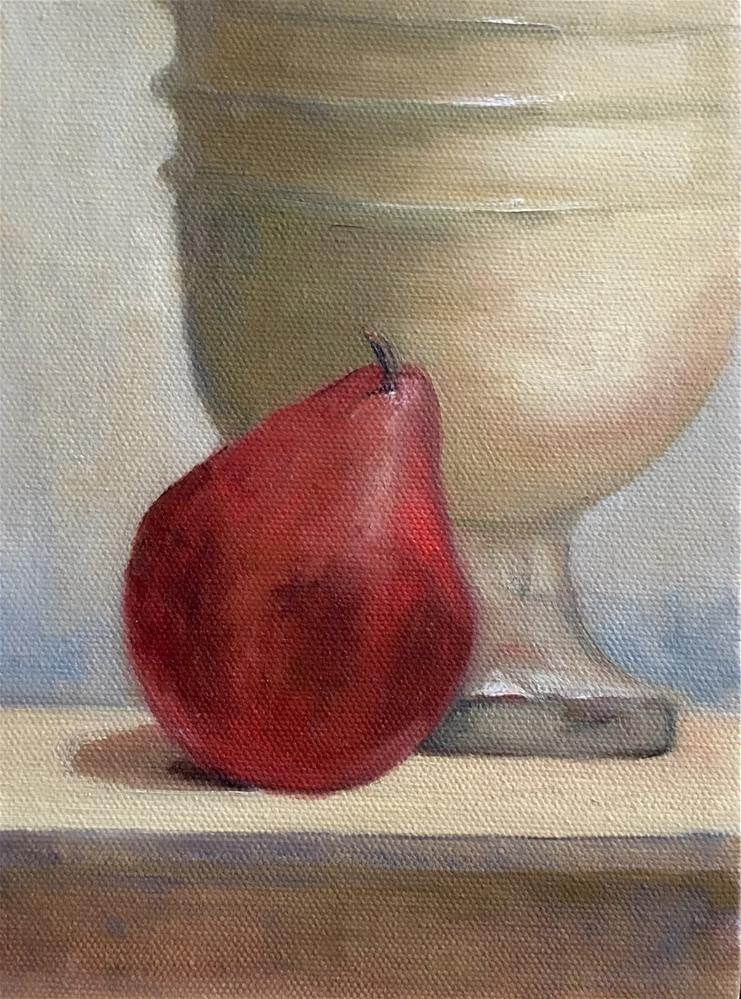 """Pear and Urn"" original fine art by Judith Anderson"