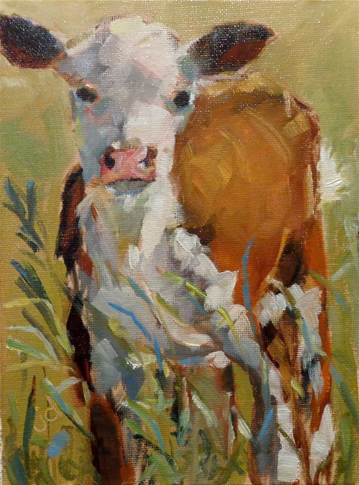"""""""Cow 25...Baby"""" original fine art by Jean Delaney"""