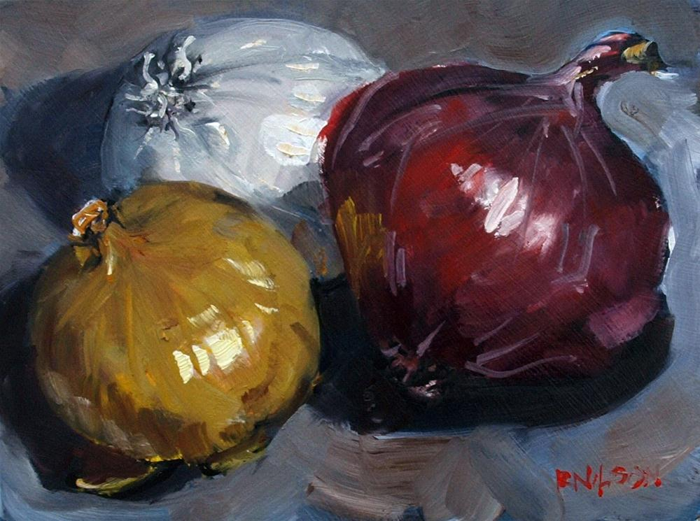 """Three Onions"" original fine art by Rick Nilson"