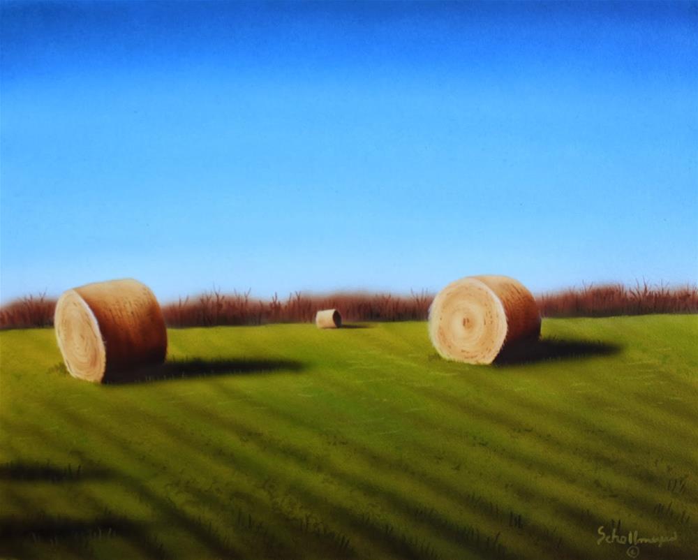 """""""Early Fall Hay Field"""" original fine art by Fred Schollmeyer"""