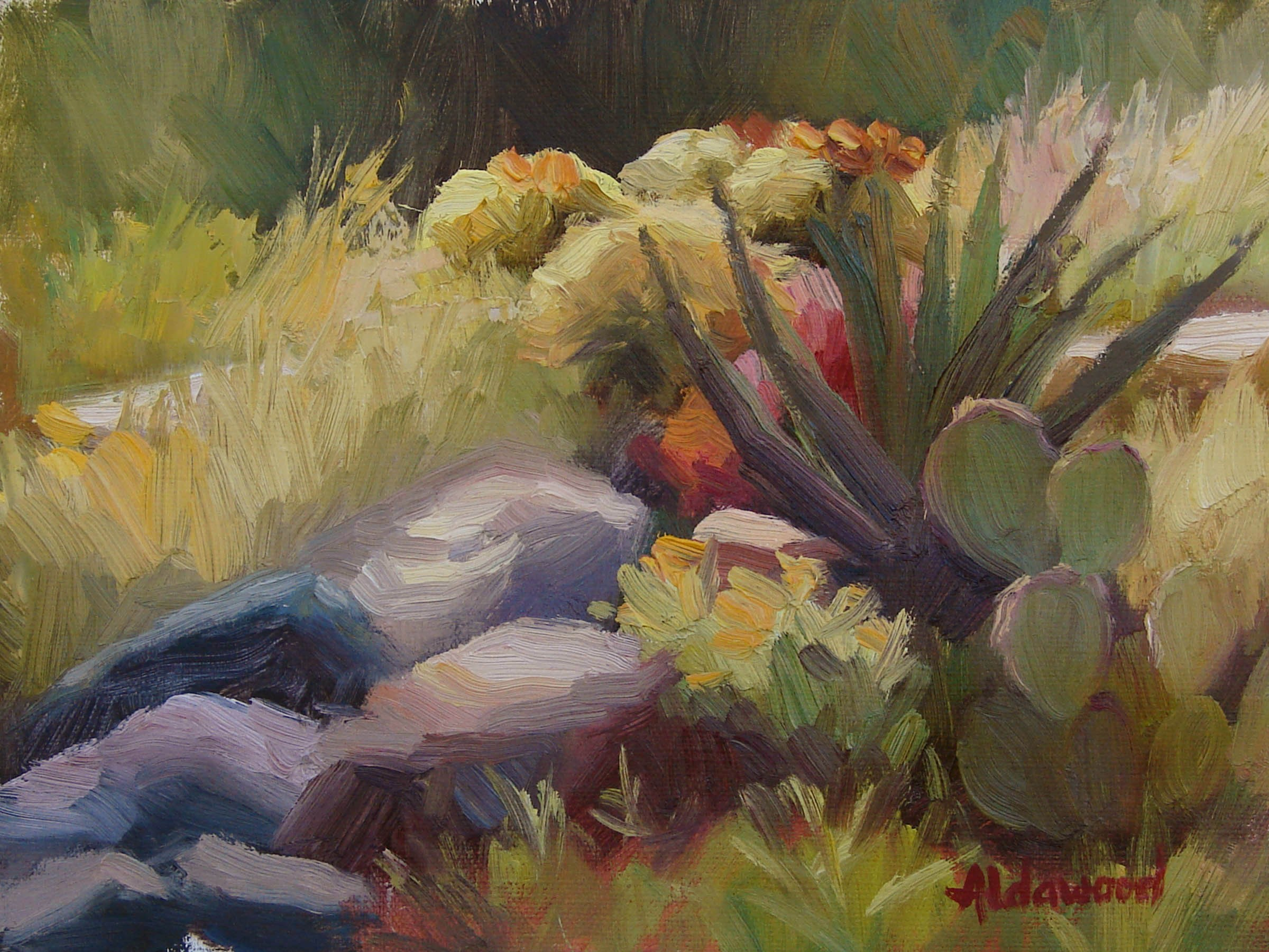 """Study for Barrel Cactus in Mid-day Sun"" original fine art by Sherri Aldawood"