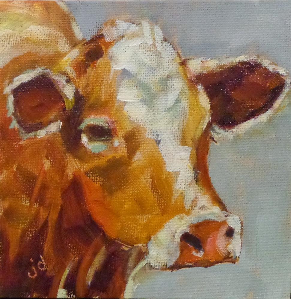 """Cow 17...Wondering"" original fine art by Jean Delaney"