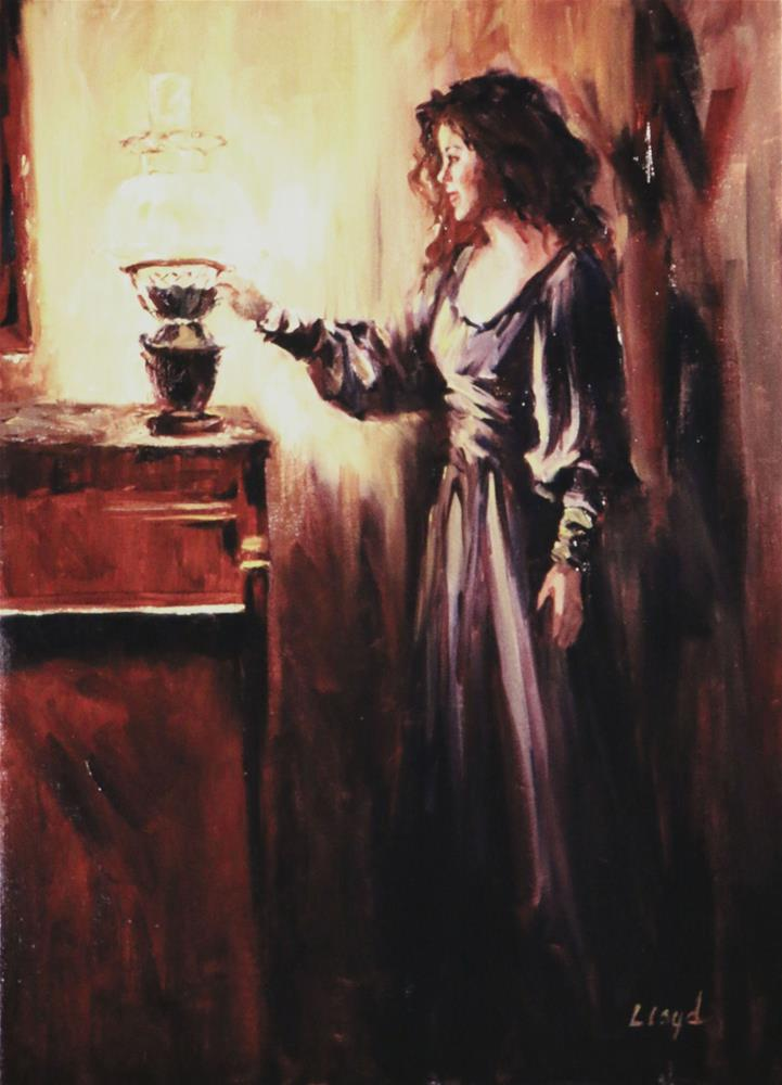 """Jenny with Hurricane Lamp"" original fine art by Diane Lloyd"