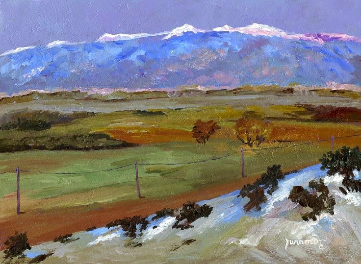 """ORIGINAL LANDSCAPE PAINTING - ROAD TO THE SNOW CAPS"" original fine art by Sue Furrow"