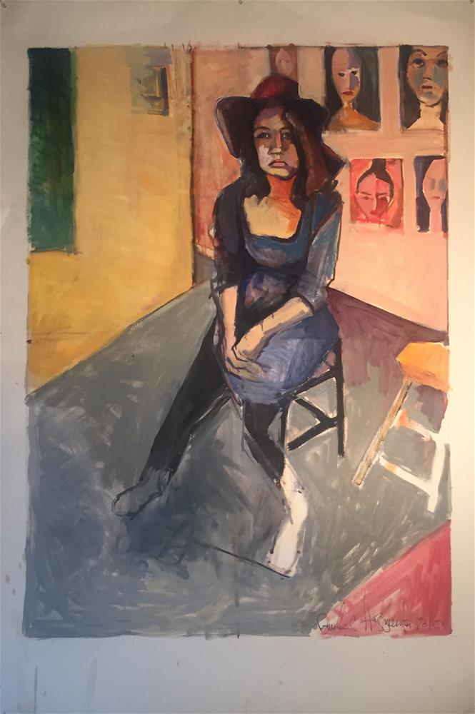 """Studio Sitter"" original fine art by Pamela Hoffmeister"