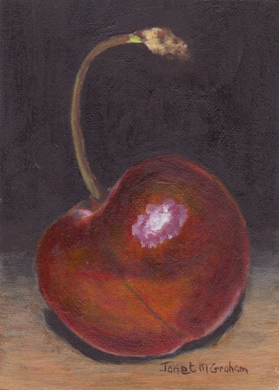 """Cherry ACEO"" original fine art by Janet Graham"